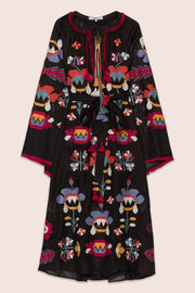 Astrid Maxi Dress in Black with Multicolor