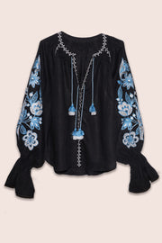 Flower Garden Blouse in Black