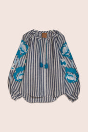 Danielle Blouse in Striped Linen