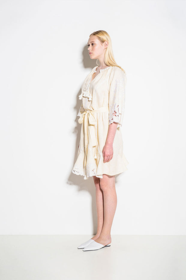 Dragon Flower Mini Dress in Creme