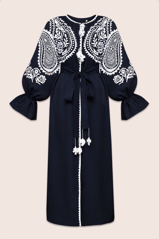 Ece Flared Sleeve Maxi Dress in Navy