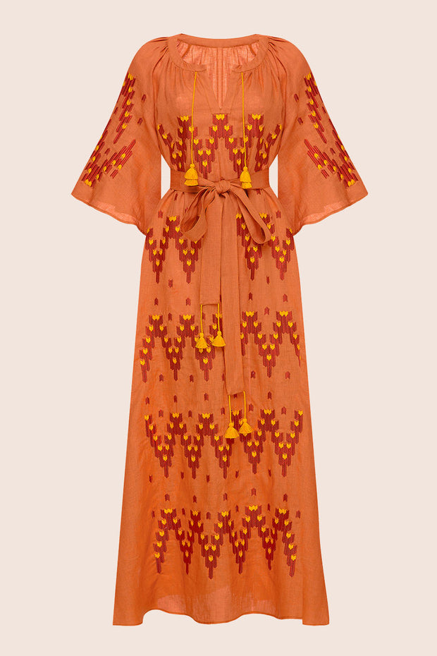 Naomi Midi Dress in Orange