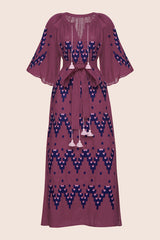 Naomi Midi Dress in Dark Fuchsia