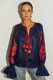 Flower Garden Blouse in Navy