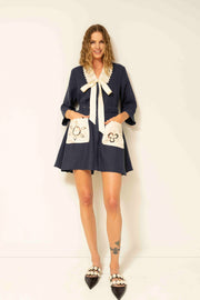 Rita Mini Dress in Navy and Creme
