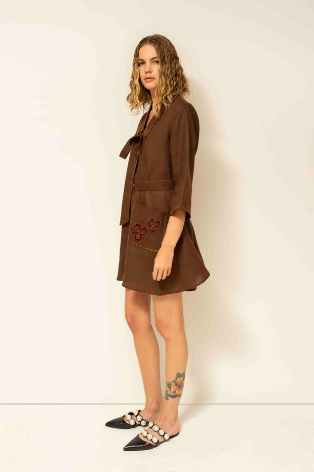 Rita Mini Dress in Brown