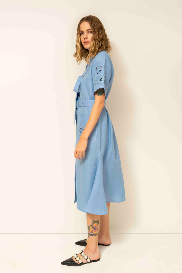 Rita Midi Dress in Blue