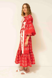 Judy Maxi Dress in Red and White