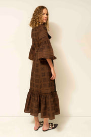 Judy Maxi Dress in Brown and Black