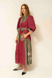 Amo Midi Dress in Burgundy and Green