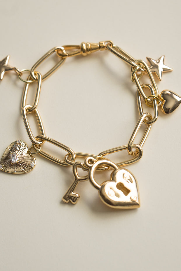 Key From My Heart Charm Bracelet