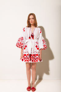Kilim Mini Flared Dress in White