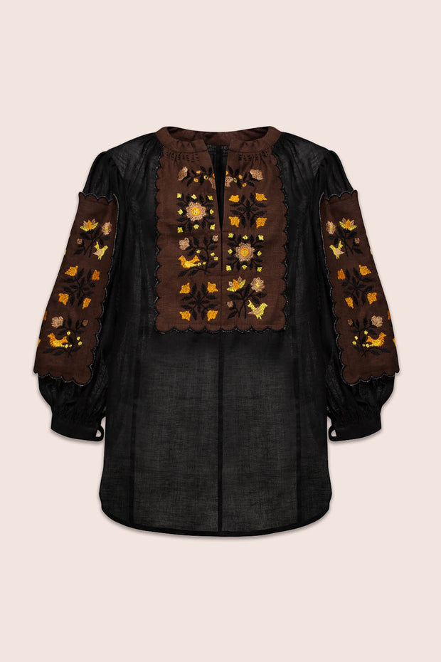 Misha Blouse in Black and Brown