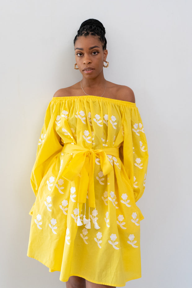 Flower Power Off-the-Shoulder Mini Dress in Yellow