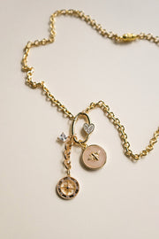 Sparkle Nude Bee Charm Necklace