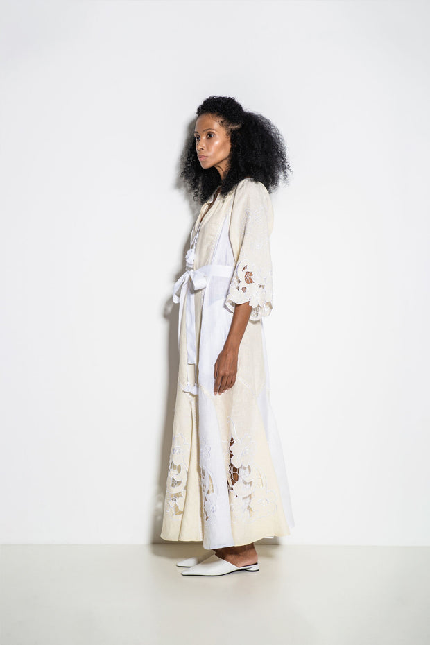 Dragon Flower Maxi Dress in Creme