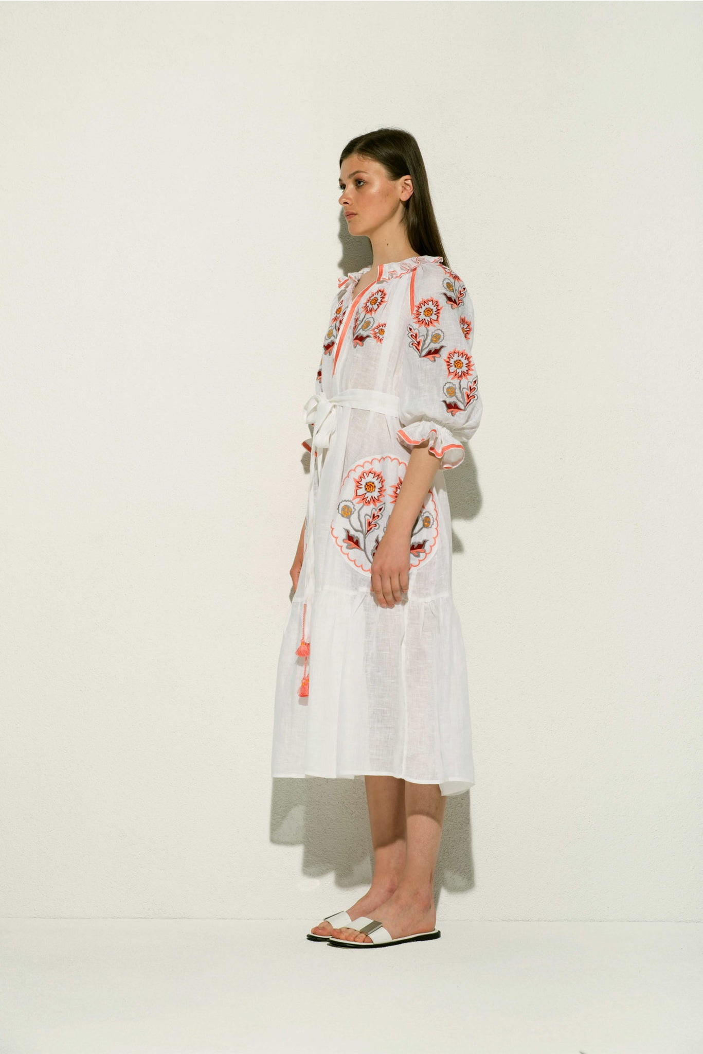 Petro Midi Dress in White