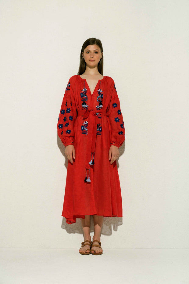 Arizona Linen Midi Dress in Red with Navy and Blue