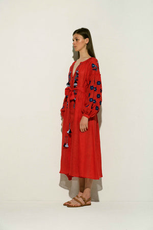 Arizona Linen Midi Dress in Red wit Navy and Blue