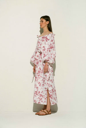 French Rose Linen Maxi Dress
