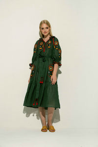 Petro Midi Dress in Green