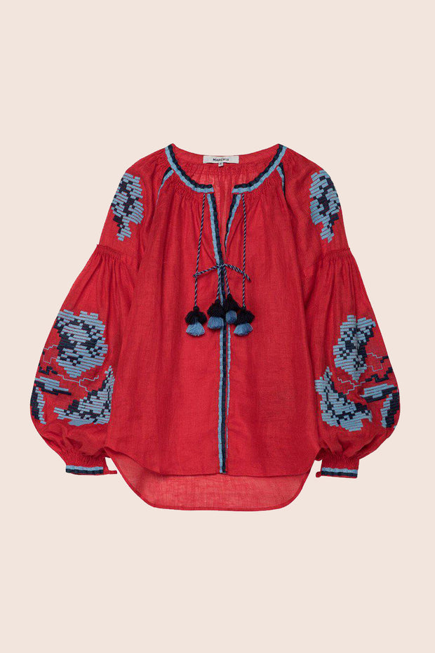 Rose Power Blouse in Red