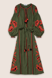 Rose Power Maxi Dress in Green