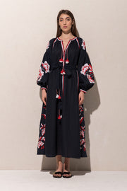 Rose Power Maxi Dress in Navy