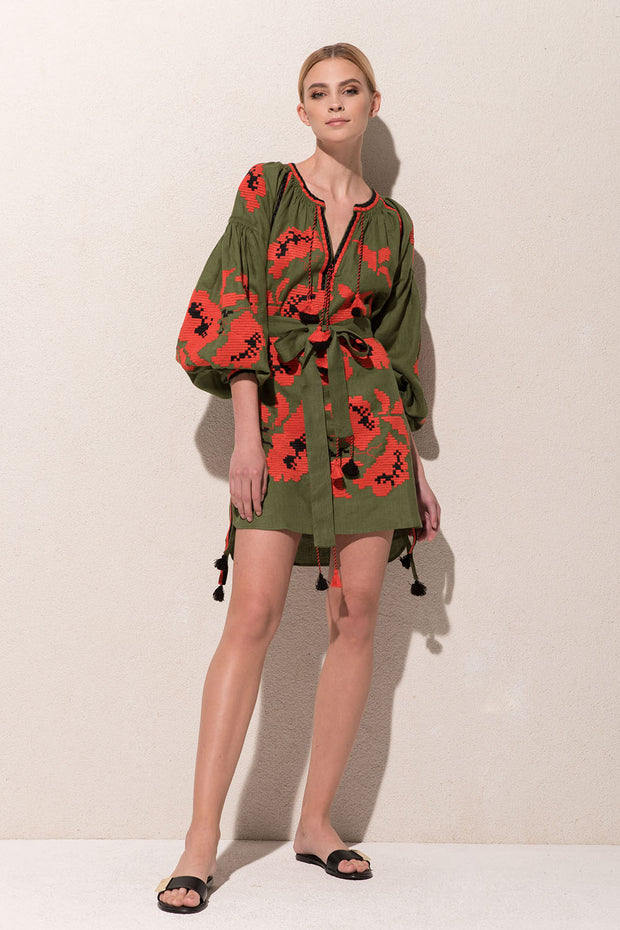 Rose Power Mini Dress in Green and Coral