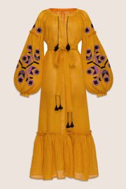 Zarina Maxi in Yellow with Black and Purple