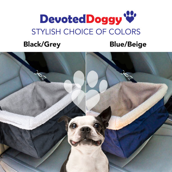 Devoted Doggy Deluxe Pet Booster Seat - BLACK/GREY - High Quality Metal Frame Construction - Clip on Safety Leash - Zipper Storage Pocket