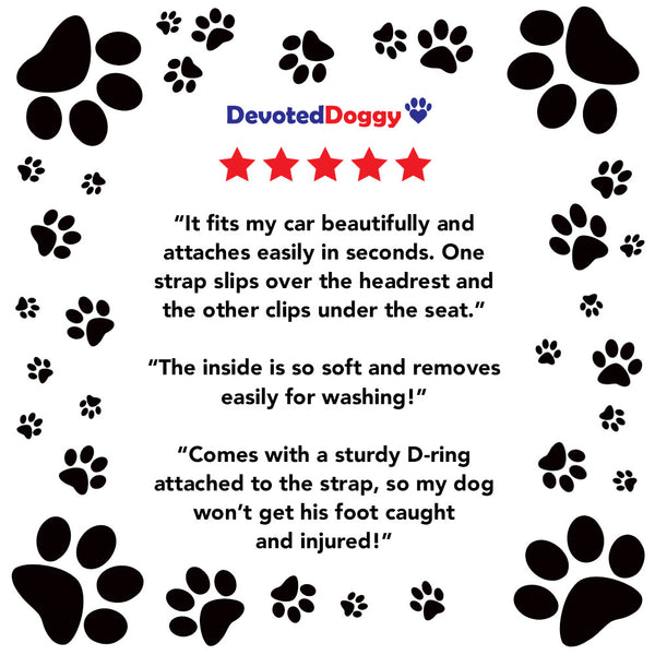 Devoted Doggy Deluxe Pet Booster Seat - BLUE/BEIGE - High Quality Metal Frame Construction - Clip on Safety Leash - Zipper Storage Pocket
