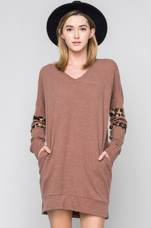 Sweater Dress with Leopard Detail