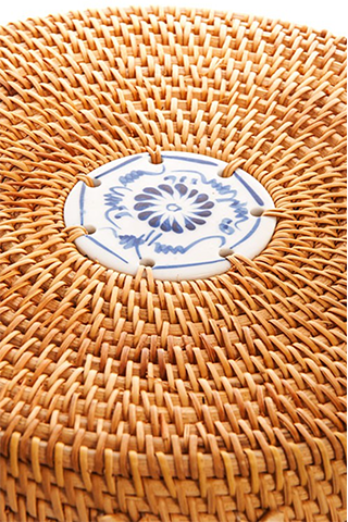 3ee5be105ceac Bamboo Woven Round Handbag w  Hand Painted Tile – MIVIDA MARKET