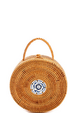 Bamboo Woven Round Handbag w/ Hand Painted Tile