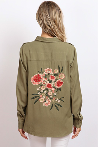 Spring Has Sprung Embroidered Military Button Up Top