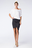 Wrapped Up in You Stretch Knit Asymmetrical Skirt