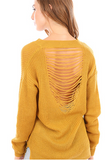 Distressed Gold Sweater