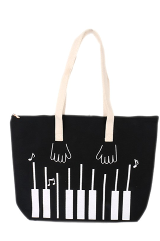 Piano Hands Black and White Tote Bag