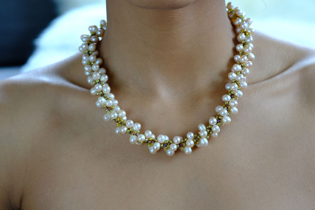 Mother of Pearl Hand Beaded Necklace