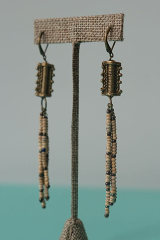 Bronze Indigenous Beaded Earrings