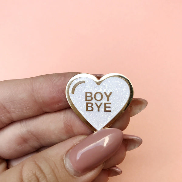 Boy Bye White Glitter Lapel Pin