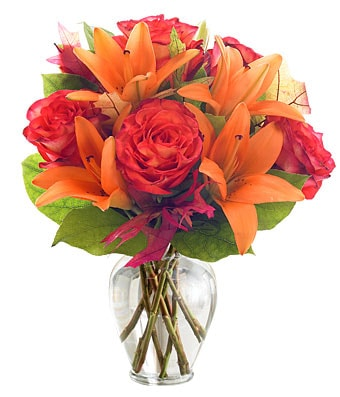 Orange Glow Flower Arrangement - Fine Gifts La Bella Basket Company