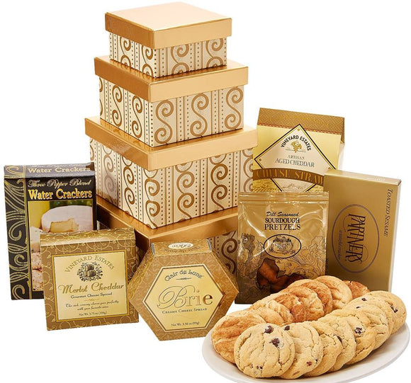 Golden Delight Tower Treats - Fine Gifts La Bella Basket Company