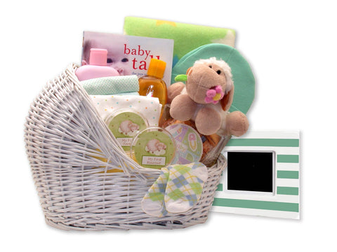 Welcome Baby Bassinet Pink, Blue or Teal - Fine Gifts La Bella Basket Company