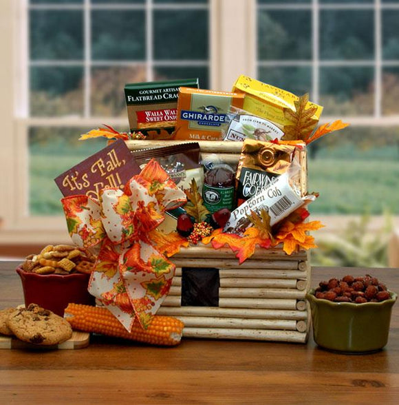 It's Fall Log Cabin Gift Basket