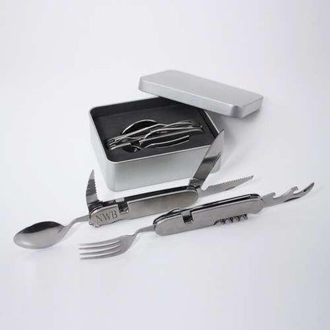 10-function Multi-Tool Monogrammed Adventurers handy pocket tool. Fork, Spoon & Knife and comes apart