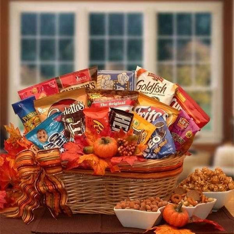 "A Fall Snack Attack Gift Basket  A fun and festive way to say, ""Happy Fall"" to all your friends and loved ones."