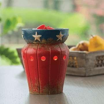 Americana Candle Warmer - This patriotic warmer has gold stars surrounding the navy blue dish while the bottom is red with an aged finish.Fine Gifts La Bella Basket Company