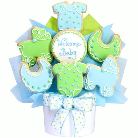 Baby Boy Cutout Cookie Bouquet - Fine Gifts La Bella Basket Company